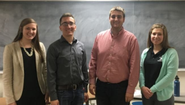 Alison Wedig (left) and Connor Willems (second from right) will advance to the state competition of the Wisconsin Farm Bureau Federation Collegiate Discussion Meet at the Young Farmer and Agriculturalist Conference Dec. 1-3. Jordan Gaal and Rachel Gerbitz also competed at the regional meet.