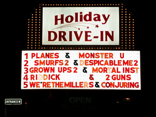 The marquee at the Holiday Drive-In was replaced after