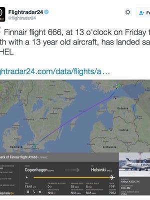 @Flightradar24 reported Flight 666 safely landed in HEL