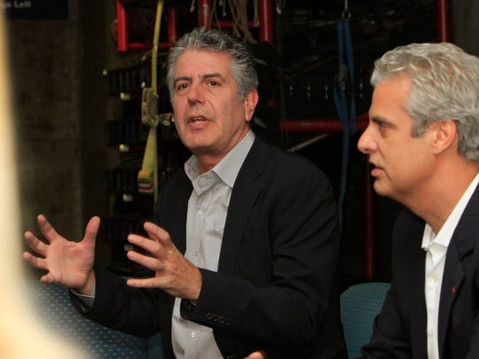 Celebrity chefs Anthony Bourdain, left, and Eric Ripert
