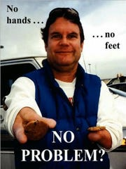 "The cover of Don Lund's book, ""No Hands, No Feet, No Problem?"""