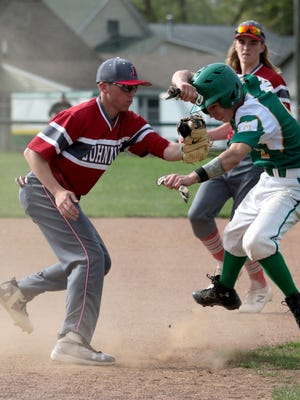 Mason Lohr is tagged out between 2nd and 3rd base during a game against Johnstown.