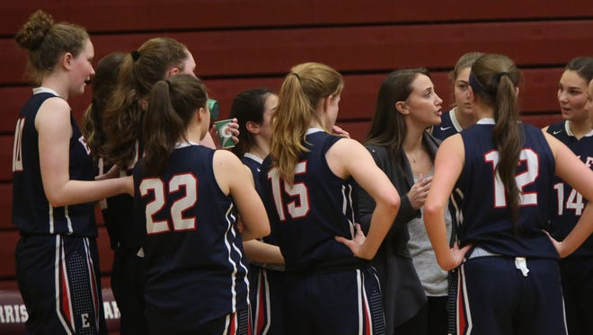 Eastchester defeated Harrison 53-51 during Section 1 Class A girls basketball first round playoff game at Harrison High School on Feb. 17, 2016.