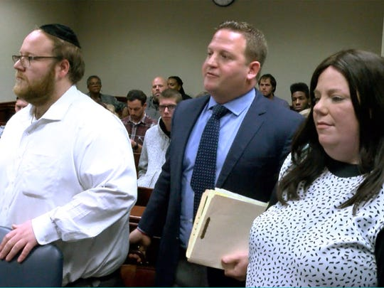 Eliezer and Elkie Sorotzkin, two of 26 people charged in Lakewood fraud sweep, are shown with attorney Ian Goldman before Judge Linda Baxter at State Superior Court in Toms River Wednesday, November 1, 2017.  They were there to find out if they'll be granted pretrial intervention.
