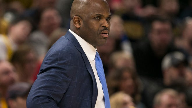 Nate McMillan, Head Coach of Indiana, Miami Heat at Indiana Pacers, Bankers Life Fieldhouse, Indianapolis, Sunday, March 25, 2018. Pacers won 113-107 in overtime.