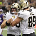 New Orleans Saints tight end Josh Hill (89), shown here celebrating a touchdown pass from Drew Brees during last year's home win over Minnesota, is hoping to fill much of the void left by trading Jimmy Graham.