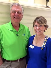 Step Smart Collier CEO Keith Dameron with Marco DAR Regent Karen Lombardi at the chapter's Jan. 18 meeting at Hideaway Beach Club.