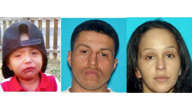 Rudy Zamora Castro, 10 months, left, Rudy Zamora, 25, center and Vilma Garcia, 26. An Amber Alert has been issued for the child.