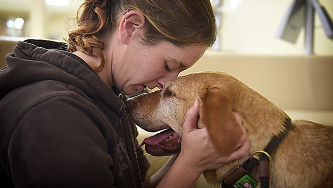 Rescue coordinator Sam Heiser comforts Shyla, a dog that was experiencing anxiety at the Humane Society of Lebanon County but eventually found her forever home.