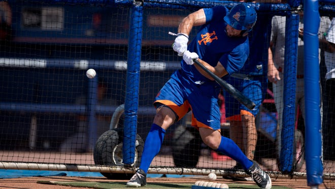 Tim Tebow has his first batting practice before his scheduled Florida State League debut with the St. Lucie Mets against the Palm Beach Cardinals on Tuesday, June 27, 2017, at First Data Field in Port St. Lucie. The game was postponed due to weather.