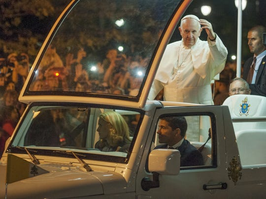 Pope Francis arrives to the Festival of Families held on the Benjamin Franklin Parkway in Philadelphia in September of 2015.