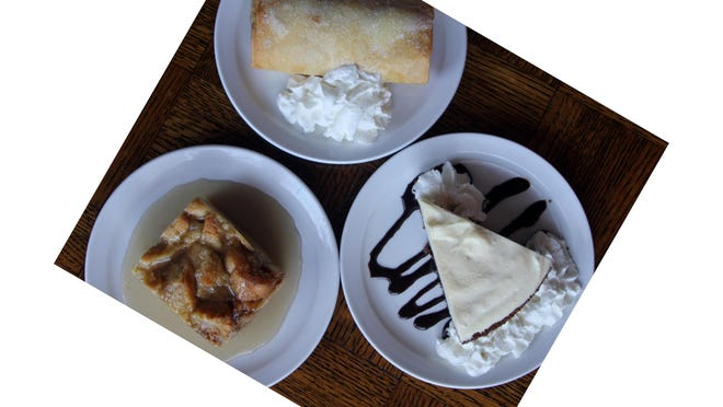 The Kretch's featured desserts are apple strudel, rum pie and bread pudding.