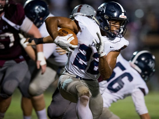 Montgomery Academy's Keefe White carries against Alabama Christian on the ACA campus in Montgomery, Ala. on Thursday November 2, 2017.