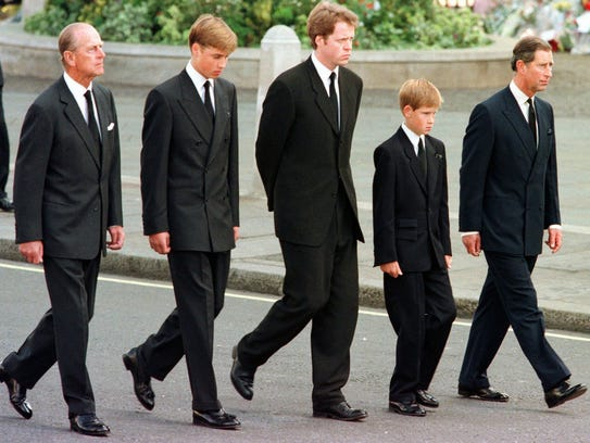 From left to right: The Duke of Edinburgh, Prince William,
