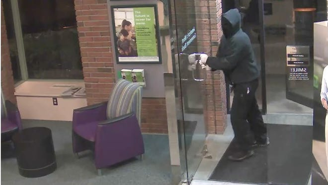 Police released this photo of the person who robbed a TD Bank branch on Shelburne Road in Shelburne on Friday, Feb. 3, 2017.
