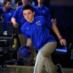 Scotch Plains' Spencer Vaughn bowls during warm-ups before the Union County Bowling Tournament at Jersey Lanes in Linden, NJ Wednesday, January 27, 2016.