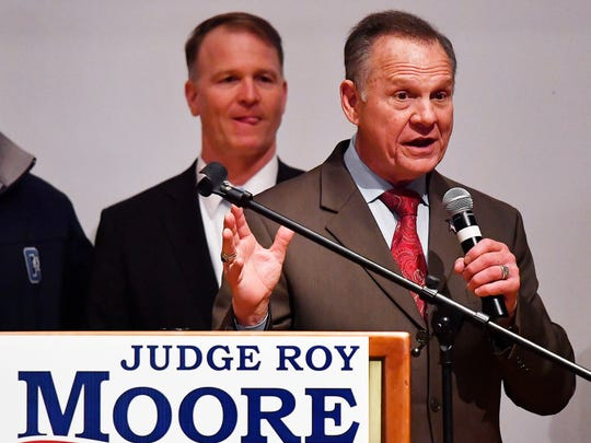 U.S. Senate candidate Roy Moore speaks at the end of