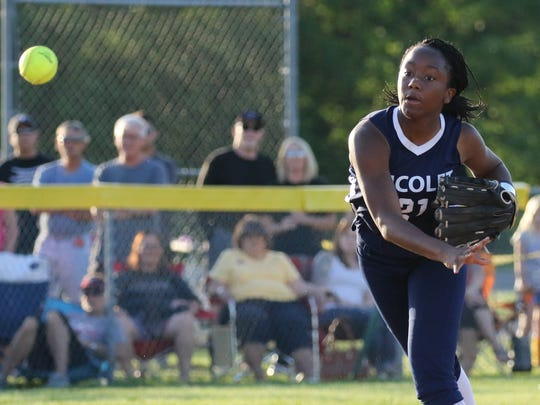 Nicolet's Kayla Bates fires to first during a WIAA sectional final game May 31 at Germantown. Falls won, 9-6, to advance to state.