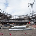 """What eventually will be the ice of the arena is beginning to be surrounded by the steel structure at the new Red Wings arena in Detroit. The phrase """"Hockeytown"""" may get some competition. Owners of the Detroit Red Wings have applied to trademark the phrases """"The Baddest Bowl"""" and the """"The Baddest Bowl in Hockey."""""""