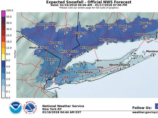 The Lower Hudson Valley could get 3 to 5 inches of