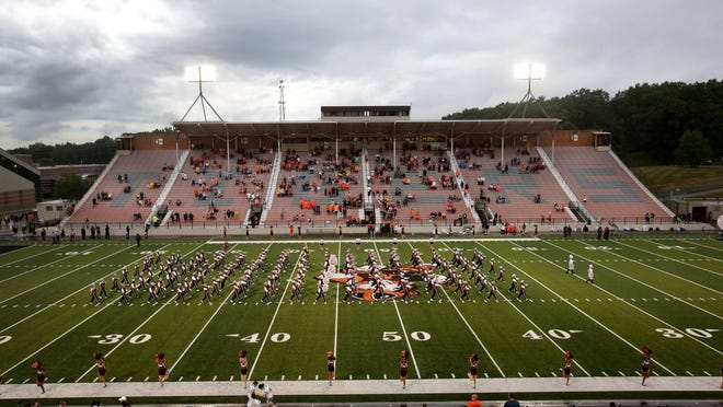 The 2020 edition of the Massillon Tiger Swing Band takes the field for pregame just before kickoff Friday evening.