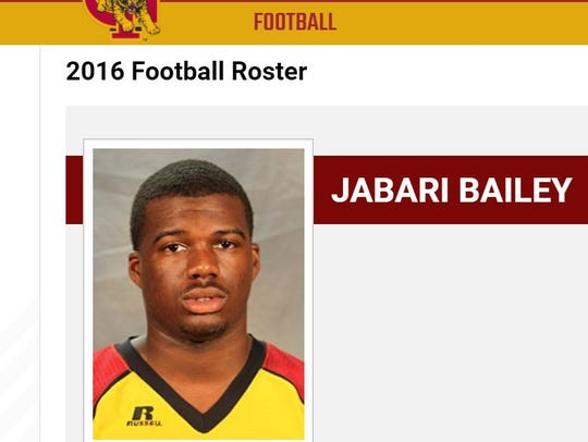 A screen shot of Jabari Bailey's freshman year profile