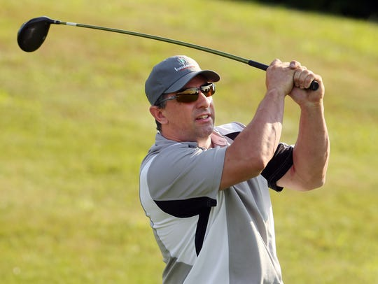 Anthony Ceglia drives off the first tee during the