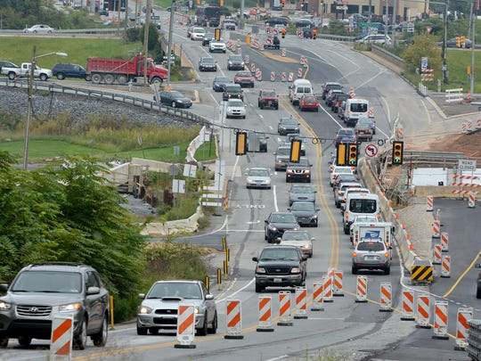 New traffic patterns in the Mount Rose Avenue construction area are causing traffic woes, Wednesday, Sept. 13, 2017. John A. Pavoncello photo