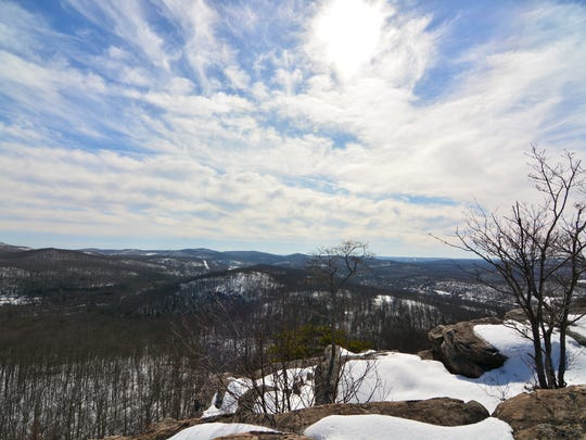 Almost Perpendicular is an exposed cliff with a majestic view of the surrounding Ramapo Mountains.