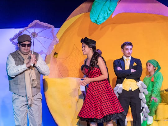 Alexis Martin, left, Jenna Smith, Jose Mendoza and Josue Hernandez rehearse for Encore Theater's production of James and the Giant Peach on Monday, June 25, 2018.