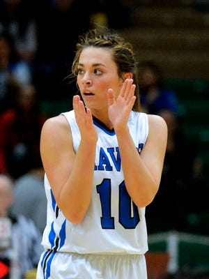 Havre's Kyndall Keller claps after a score during the Blue Ponies' game against Hamilton during the girls' Class A State Basketball Tournament at the Four Seasons Arena in Great Falls, Thursday.