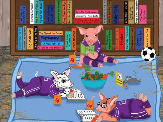 Piggy Pie and his friends read books and enjoy snacks.
