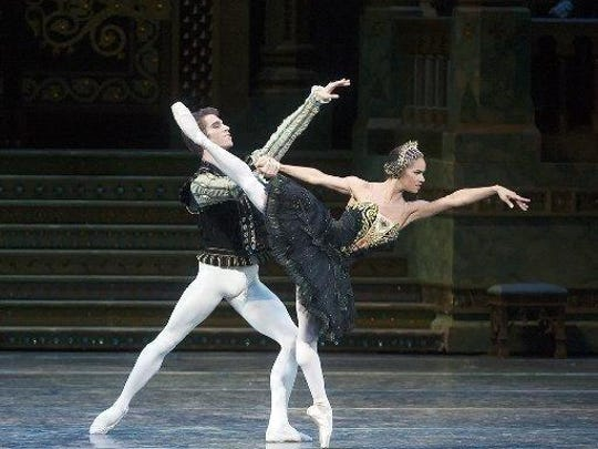 "Misty Copeland and James Whiteside appear in ""Swan Lake"" at the Metropolitan Opera House on June 24, 2015. It was Copeland's New York debut in the lead role."