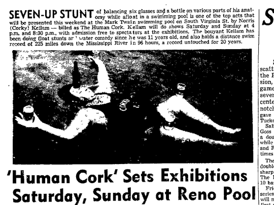 Nevada State Journal article on the opening of the Mark Twain Motel pool.