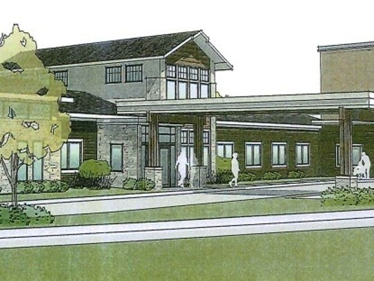 Architectural drawing of exterior for new skilled nursing facility and hospice care center under construction at Door County Medical Center , Sturgeon Bay.