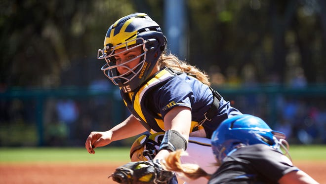 """Alex Sobczak on catching at Michigan: """"It definitely was an adjustment period for me because in high school you don't deal with that amount of movement and having All-American pitchers."""""""