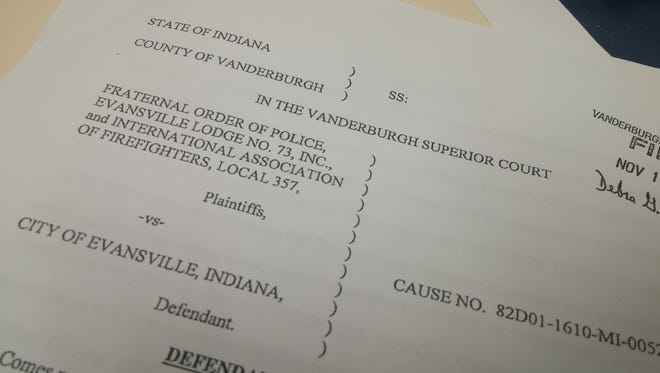 The Evansville police and fire unions sued the city in October to stop the city from changing its health insurance plan.