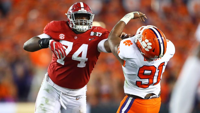 Alabama's Cam Robinson (74) is the top-ranked tackle in the NFL draft.