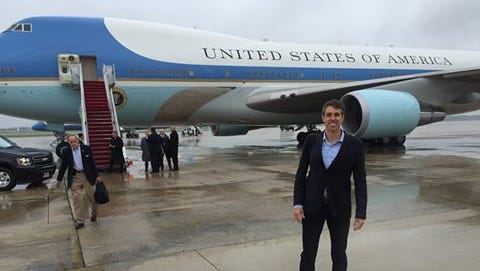 U.S. Rep. Beto O'Rourke, D-El Paso, poses for a photo before boarding Air Force One as he joins President Barack Obama on Saturday on a trip to Vietnam.