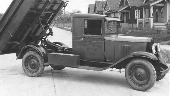 This old truck was state of the art when West Allis mainly used horses to help pave its first roads and lay its first sewer and water lines in the 1920s.