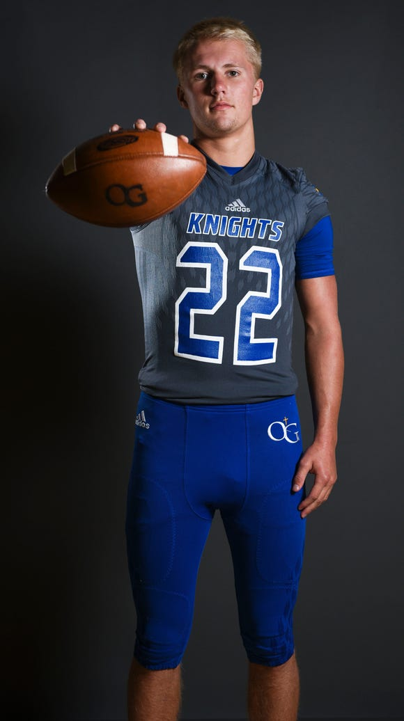 Senior free safety Cole Howes models one color combination