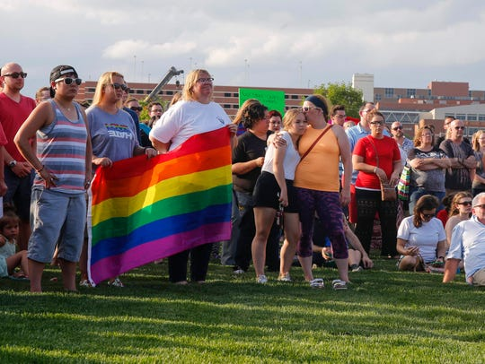 Hundreds gathered to support the LGBTQ community in 2016.