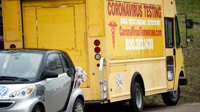 A yellow box truck promoting coronavirus testing, seen in west Nashville on Monday, is linked to a disgraced doctor who lost his medical license in 2008.