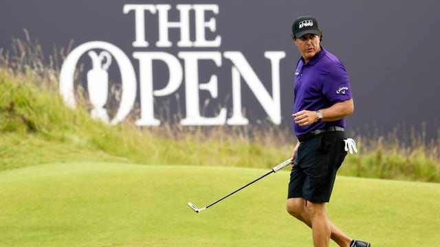 Phil Mickelson of the United States walks on the 18th green during a practice round before the 2019 British Open.
