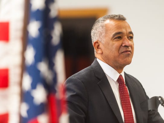 Millville Mayor Michael Santiago delivers the State