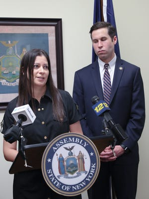 Susan Bernstein, left, estranged wife of Ira Bernstein, with NYS Assemblyman Kenneth Zebrowski makes comments during a press conference at Assemblyman Zebrowski's New City office on Friday, May 11, 2018 to push for strengthening the conspiracy to commit murder charges.