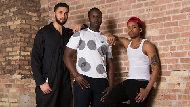 """Travis A. Knight (left), Andrew Muwonge and Marques Causey perform in """"The Brothers Size,"""" staged by Milwaukee Chamber Theatre."""