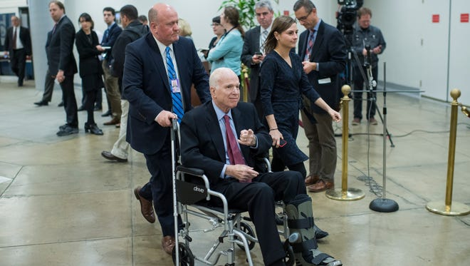 Sen. John McCain returned to Arizona for the holidays and is expected to head back to Washington in January.
