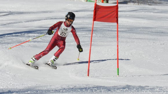Carson Oswald of the Asheville Ski Club races this past weekend at Sugar Mountain.
