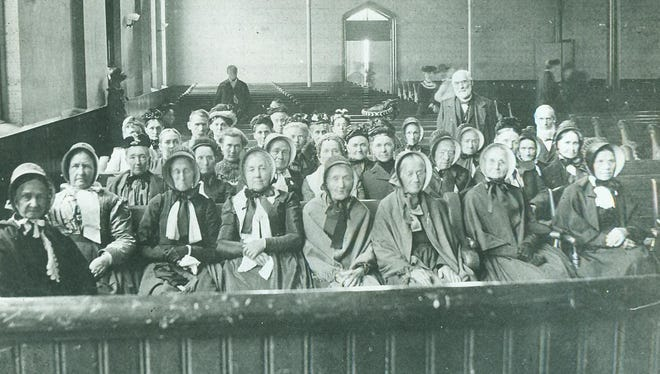 Women are shown in the east Main Street Friends meetinghouse where famed evangelist Billy Sunday and presidential candidate Williams Jennings Bryan appeared in the early part of the 20th century. These women were not exposed to the fire and brimstone proselytizing mentioned in today's antiquated story, but are representative of the thirst for spiritual sustenance prevalent in Richmond in olden times, and today. The meetinghouse was torn down in 1997 and today is the site for the east side CVS and Family Video.